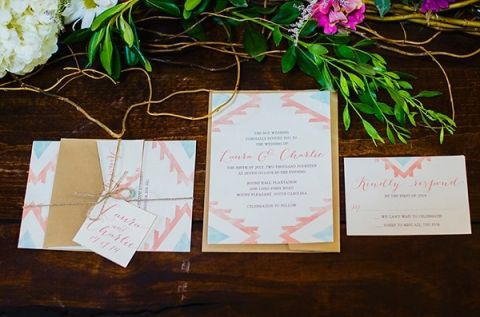 Southwestern Watercolor Wedding Invitation | Nicole Caudle Photography | Vintage Southern Charm at The Not Wedding Charleston!