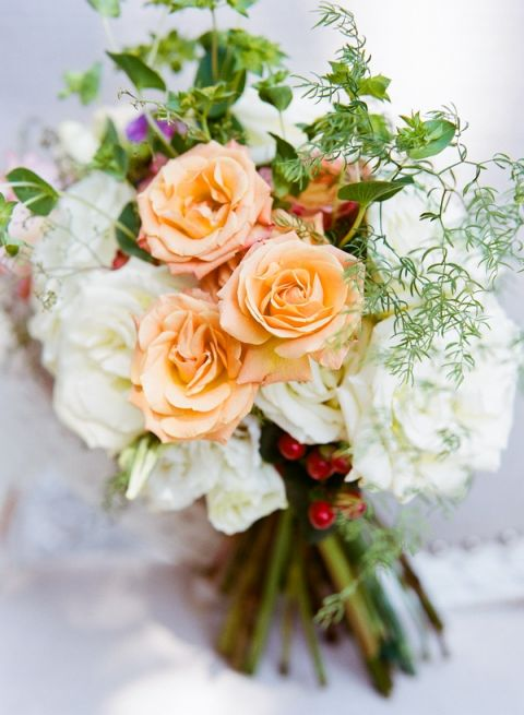Peach and Ivory Bouquet   Nicole Caudle Photography   Vintage Southern Charm at The Not Wedding Charleston!