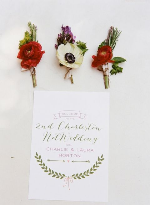 Red and Ivory Boutonnieres   Nicole Caudle Photography   Vintage Southern Charm at The Not Wedding Charleston!