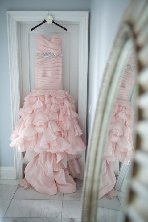 Blush Ruffled Wedding Dress by Maggie Sottero | Janine Deanna Photography | Glamorous Pink and Gray Mountain Wedding with a Blush Wedding Dress