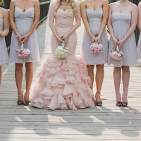 Pink and Gray Bridesmaids | Janine Deanna Photography | Glamorous Pink and Gray Mountain Wedding with a Blush Wedding Dress