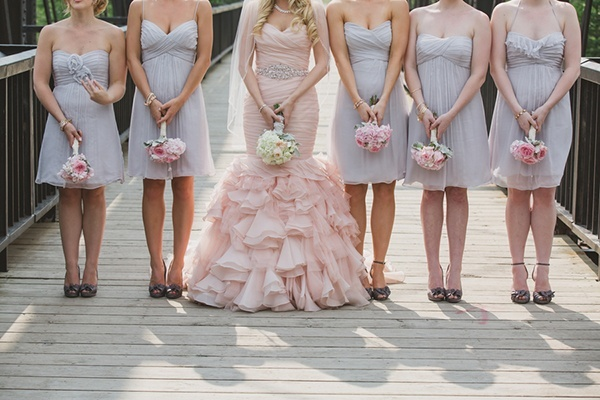 Blush Wedding Dress Grey Bridesmaids : Glamorous mountain wedding with a blush dress