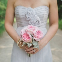 Gray Chiffon Amsale Bridesmaid Dresses with Pink Rose Bouquets | Janine Deanna Photography | Glamorous Pink and Gray Mountain Wedding with a Blush Wedding Dress