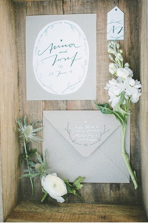 Neutral Wedding Invitation | Linse 2 Photography | Frosted Berry - A Twist on a Classic Winter Palette in Sea Glass and Pomegranate