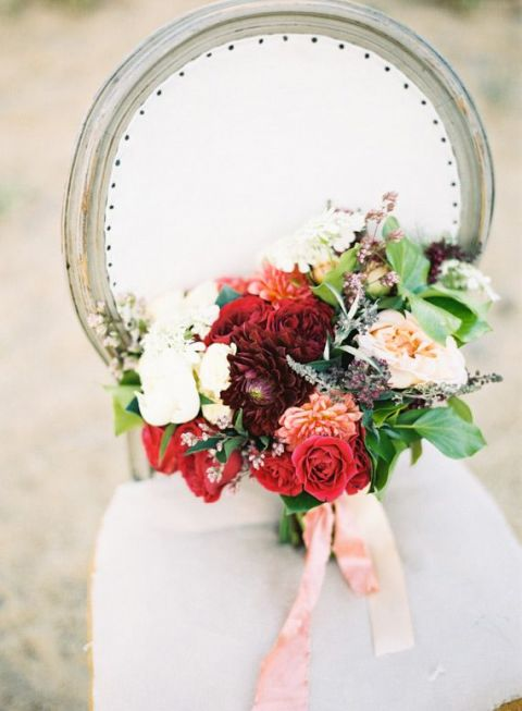 Rich Red Bouquet | Jen Wojcik Photography | Frosted Berry - A Twist on a Classic Winter Palette in Sea Glass and Pomegranate