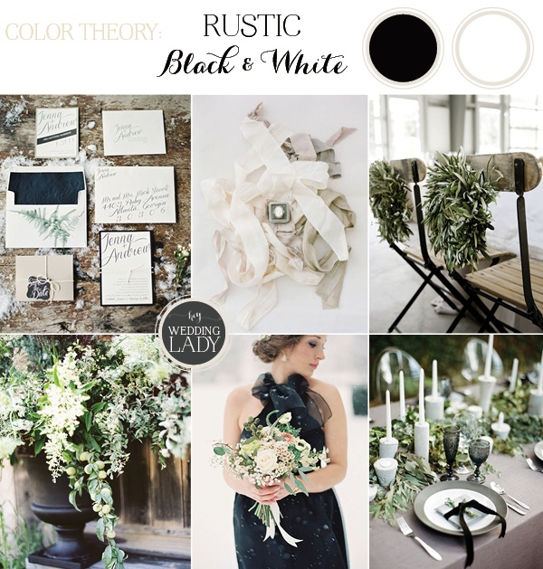Rustic Woodlands Black And White Winter Wedding With Gray Green Accents