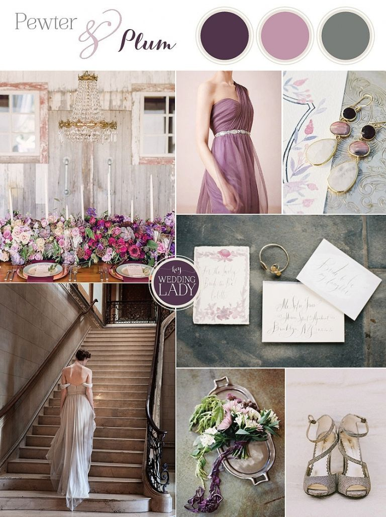 Pewter and Plum - Luxe Vintage Wedding Inspiration in Silver and Purple