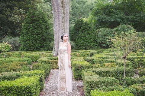 Vintage Styled Bridal Portraits at Appleford Estate | Ashlee Mintz Photography | Golden Goddess - Crystal, Gold, and Champagne Bridal Shoot with Vintage 1920s Style