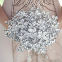 Heirloom Crystal Bouquet   Ashlee Mintz Photography   Golden Goddess - Crystal, Gold, and Champagne Bridal Shoot with Vintage 1920s Style