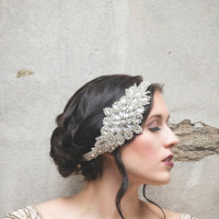 Vintage Glam Bridal Hairstyle with a Crystal Headpiece | Ashlee Mintz Photography | Golden Goddess - Crystal, Gold, and Champagne Bridal Shoot with Vintage 1920s Style