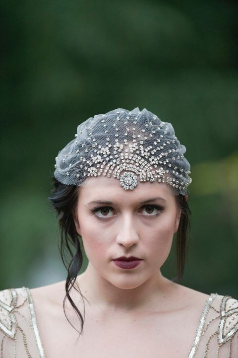 Crystal and Tulle Bridal Cap with Burgundy Lips | Ashlee Mintz Photography | Golden Goddess - Crystal, Gold, and Champagne Bridal Shoot with Vintage 1920s Style