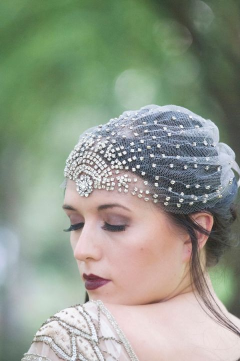 Glittering Art Deco Bridal Cap | Ashlee Mintz Photography | Golden Goddess - Crystal, Gold, and Champagne Bridal Shoot with Vintage 1920s Style