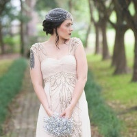 Art Deco Inspired Champagne Wedding Dress with an Heirloom Crystal Bouquet | Ashlee Mintz Photography | Golden Goddess - Crystal, Gold, and Champagne Bridal Shoot with Vintage 1920s Style