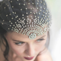 Crystal and Tulle Vintage Bridal Headpiece with Burgundy Lips | Ashlee Mintz Photography | Golden Goddess - Crystal, Gold, and Champagne Bridal Shoot with Vintage 1920s Style