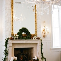 Elegant Holiday Mantel Decor with an Antler Chandelier | Jacque Lynn Photography and Michelle Leo Events | Enchanting Woodland Wedding Shoot with Rustic Winter Details