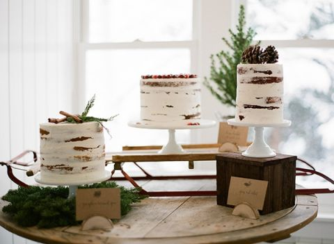 Rustic Winter Wedding Cake Display