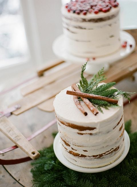 Petite Rustic Wedding Cakes On A Vintage Sled