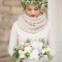 A Knit Infinity Scarf and a Cream Wool Sweater for a Cozy Winter Bride | Jacque Lynn Photography and Michelle Leo Events | Enchanting Woodland Wedding Shoot with Rustic Winter Details