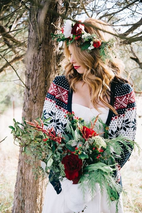 Cozy Winter Bride in a Patterned Cardigan over a Simple Wedding Dress | Nicole Colwell Photography | https://heyweddinglady.com/festive-styled-wedding-in-the-winter-woods-with-a-corgi-in-a-holiday-sweater/