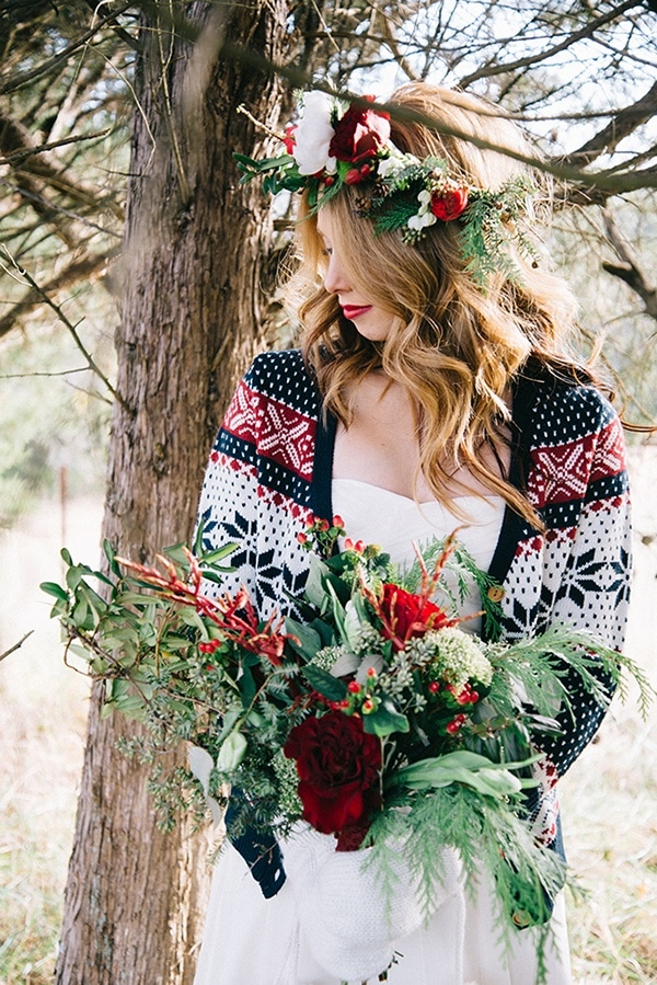 Festive holiday wedding in the winter woods hey wedding lady for Sweater over wedding dress