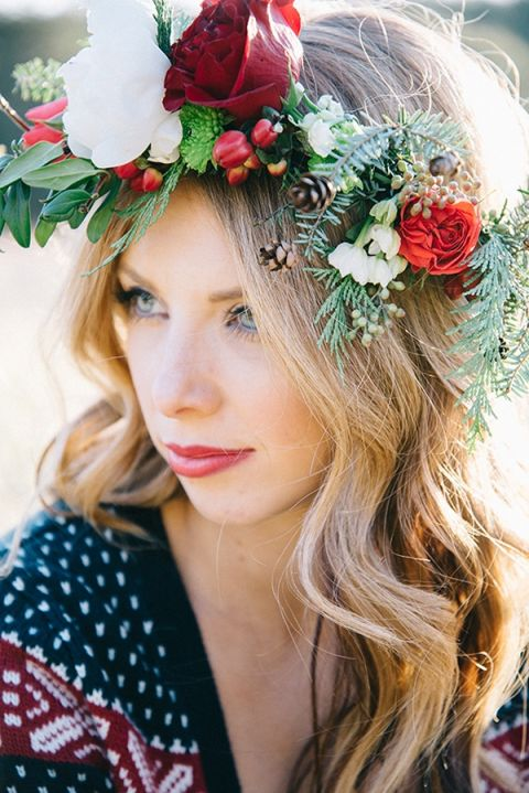 Winter Rose Floral Crown for a Bohemian Bride | Nicole Colwell Photography | https://heyweddinglady.com/festive-styled-wedding-in-the-winter-woods-with-a-corgi-in-a-holiday-sweater/