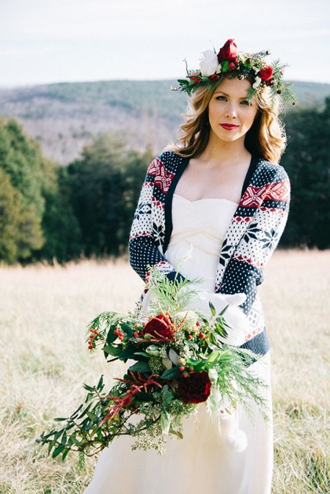 Bohemian Bride with a Foraged Winter Bouquet | Nicole Colwell Photography | https://heyweddinglady.com/festive-styled-wedding-in-the-winter-woods-with-a-corgi-in-a-holiday-sweater/