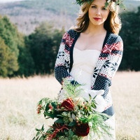 Bohemian Bride with a Foraged Winter Bouquet | Nicole Colwell Photography | http://heyweddinglady.com/festive-styled-wedding-in-the-winter-woods-with-a-corgi-in-a-holiday-sweater/