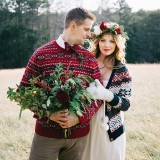 Festive Styled Wedding in the Winter Woods - with a Corgi in a Holiday Sweater! | Nicole Colwell Photography