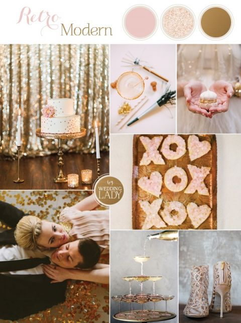 Sparkling Blush, Champagne, and Gold Retro Meets Modern Wedding Inspiration for New Years!