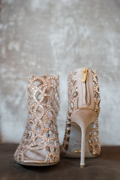 Blush Crystal Wedding Shoes Ned Jackson Photography Sparkling Champagne And Gold