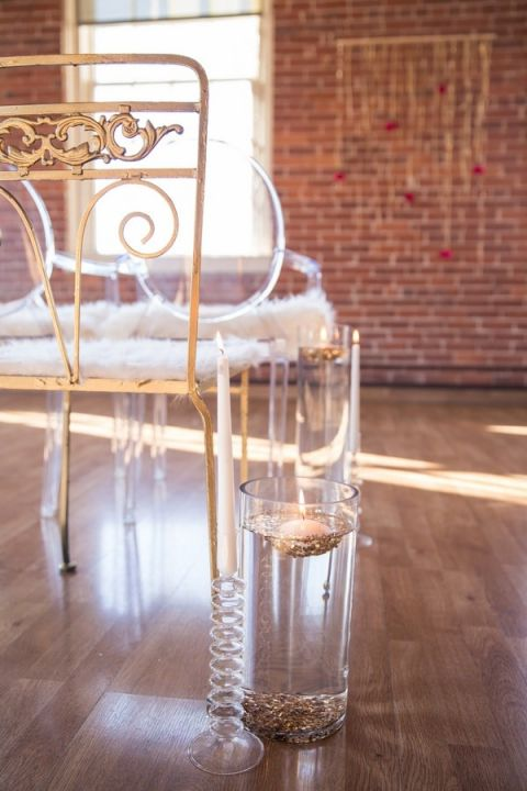 Vintage Gold Chairs Mixed with Modern Ghost Chairs for Ceremony Seating | Kim Lyn Photography | Sequins and Stripes for an Industrial Glam Loft Wedding