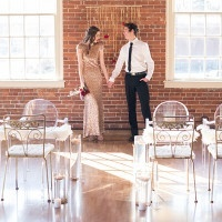 Modern Meets Vintage Gold and Crystal Wedding Ceremony | Kim Lyn Photography | Sequins and Stripes for an Industrial Glam Loft Wedding