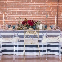 Preppy Striped Table with Red and Cobalt Details | Kim Lyn Photography | Sequins and Stripes for an Industrial Glam Loft Wedding