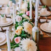 Pastel and Greenery Floral Table Runner with Gold Candle Holders | Danaea Li Photography and A Day to Remember Events | Romantic Vintage Botanical Wedding Shoot at a Rustic Winery
