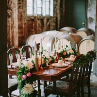 Romantic Wine Cellar Wedding Reception | Danaea Li Photography and A Day to Remember Events | Romantic Vintage Botanical Wedding Shoot at a Rustic Winery
