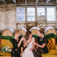 Chic Bridesmaids in Black Dresses and Statement Necklaces | Danaea Li Photography and A Day to Remember Events | Romantic Vintage Botanical Wedding Shoot at a Rustic Winery