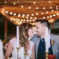 Romantic Wine Cellar Reception Hung with Bistro Lights | Danaea Li Photography and A Day to Remember Events | Romantic Vintage Botanical Wedding Shoot at a Rustic Winery