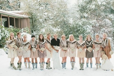 Bridesmaids In Mismatched Neutral Dresses And Adorable Boots