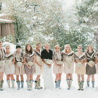 Bridesmaids in Mismatched Neutral Dresses and Adorable Boots! | onelove photography | Classic Winter Elegance for a Rustic Vintage Barn Wedding