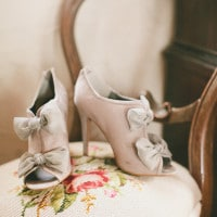 Chic Neutral Bow Booties for a Winter Bride | onelove photography | Classic Winter Elegance for a Rustic Vintage Barn Wedding