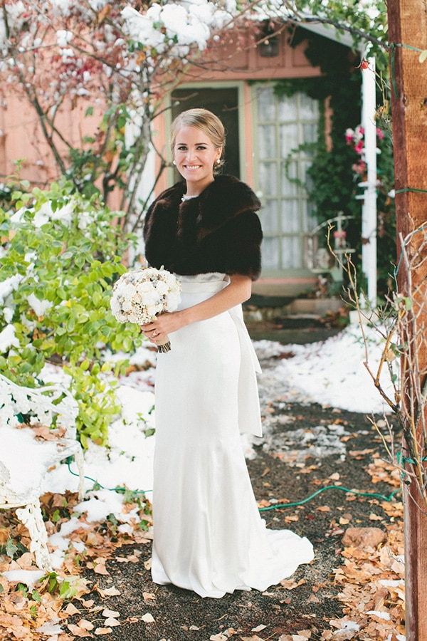 Classic winter elegance for a rustic vintage barn wedding for Winter vintage wedding dresses