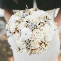 Ivory and Gray Neutral Wedding Bouquet | onelove photography | Classic Winter Elegance for a Rustic Vintage Barn Wedding