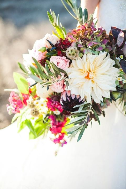 Ivory, Blush, and Berry Bouquet   Samantha McFarlen Photography   Late Winter Sun - Sparkling Silver and Berry Wedding Shoot
