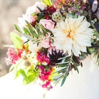 Ivory, Blush, and Berry Bouquet | Samantha McFarlen Photography | Late Winter Sun - Sparkling Silver and Berry Wedding Shoot