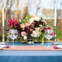 Rich Burgundy Centerpiece | Samantha McFarlen Photography | Late Winter Sun - Sparkling Silver and Berry Wedding Shoot