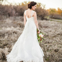 Classic A Line Lace Wedding Dress | Samantha McFarlen Photography | Late Winter Sun - Sparkling Silver and Berry Wedding Shoot