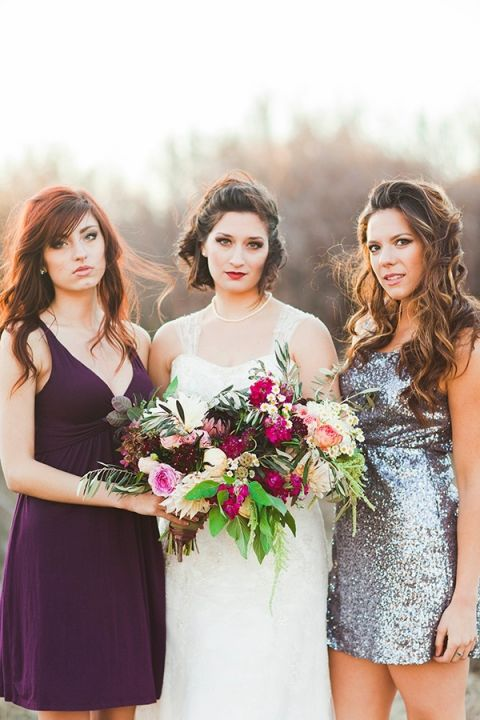 Bridesmaids in Rich Purple and Silver Sequins   Samantha McFarlen Photography   Late Winter Sun - Sparkling Silver and Berry Wedding Shoot
