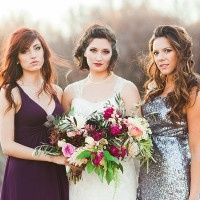 Bridesmaids in Rich Purple and Silver Sequins | Samantha McFarlen Photography | Late Winter Sun - Sparkling Silver and Berry Wedding Shoot