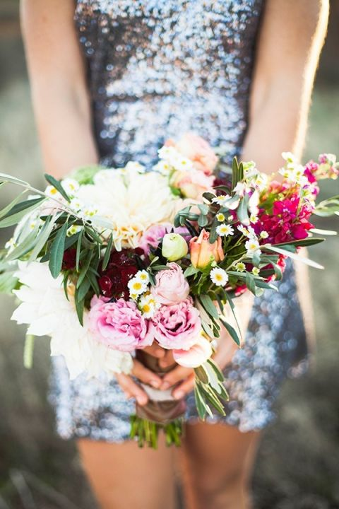 Silver Sequin Bridesmaid Dress with a Rich Purple Bouquet   Samantha McFarlen Photography   Late Winter Sun - Sparkling Silver and Berry Wedding Shoot