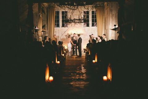 Enchanted Candlelight Wedding Ceremony In A Rustic Country Chapel